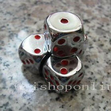 5 X Silver 6 Sided D6 16mm RPG D&D D20 Game Dice bag SS