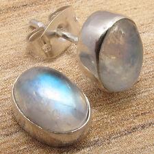 MEN &  WOMEN'S STUD EARRINGS ! Natural RAINBOW MOONSTONE ! 925 Silver Plated