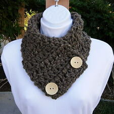 NECK WARMER SCARF Taupe Gray Grey Brown Crochet Knit Thick Cowl, Large Buttons