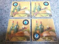 NEW/SEALED Zinfandel Naturally Absorbent Ceramic Coasters, Cork Bottom, Set of 4