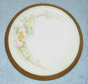 "antique china trivet Bavaria German pink flower rose gold trim 5""  tea tile"