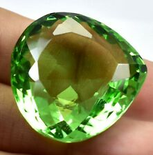 AAA 78.70 Ct Natural Green Peridot Faceted Heart Cut Loose Gemstone Certified