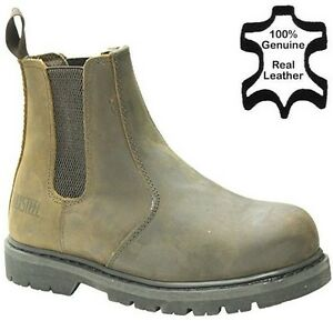 MENS LEATHER DEALER PULL ON SAFETY CHELSEA BOOTS WORK STEEL TOE CAP SHOES SIZE