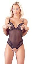 Body Sexy Lingerie donna Nero con Pizzo e Aperture Perle Stimolanti a cavallo