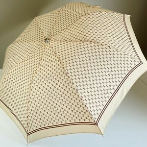 Vintage Chanel CC Umbrella Tan and Brown