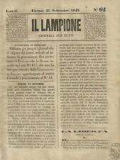 Il Lampione Carlo Collodi Giornale Satirico Risorgimento n°62  25 Settembre 1848