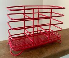 Bright Red Vibrant Metal Kitchen Utensil Cutlery Storage Holder Drainer Home