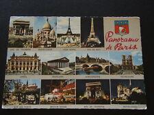 672 - PANORAMA DE PARIS EIFFEL MADELEINE CONCIERGERIE OPERA 1968 - POSTCARD