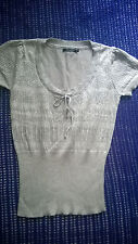 Cool & funky silver knitted glittery top size 10 work party formal