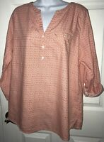 J. Jill Micro Floral Popover Roll Tab Sleeves Tunic Sz MEDIUM Coral White Cotton