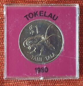 1980 $1 Tokelan Tahi Tala Crown Size Cased Coin