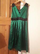Austin Reed emerald Green Satin.black Beaded silk  Dress Size 16