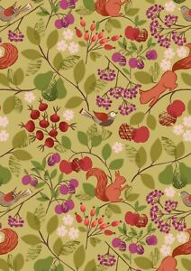 Lewis & Irene THE ORCHARD - Orchard - GREEN Fabric 100% COTTON  per 1/4 metre