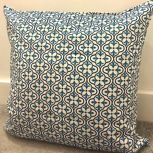 "Blue Moroccan Tiles Cushion Cover 60 X 60cm 24 X 24"" Geometric"
