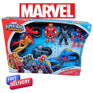 Marvel Super Hero 3 Figures and Motorbikes Spiderman, Iron Man And Black Panther