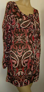 Red Brown Paisley Short Dress Beach Cover Up Size 16/18 Sarong Long Sleeved Top