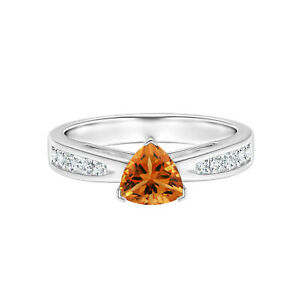 0.75 Cts Trillion Cut Citrine 10K White Gold Solitaire Accents Ring US-4