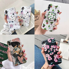 For iPhone 11 Pro Max XS XR 7 8 Plus X Marble Flower Holder Stand Soft TPU Case