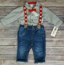 Cat & Jack Baby Boys Shirt Bodysuit & Denim, Suspenders with Bow Tie Set Holiday