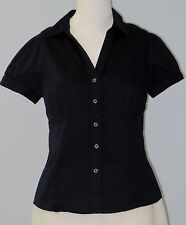 BANANA REPUBLIC Petites Size 10P Black Stretch V-Neck Short Sleeve Blouse