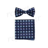 New Men's Pre-tied Bow Tie & Hankie set dark blue polka dots formal Wedding prom