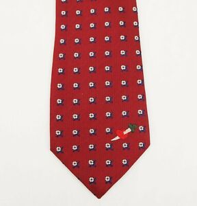 Gucci Burgundy Silk Tie with White/Blue Flowers and Metric Heart 495327 6400