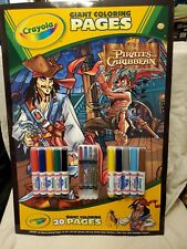 New Disney Pirates of the Caribbean Giant 20 Page Coloring Book Crayons Markers