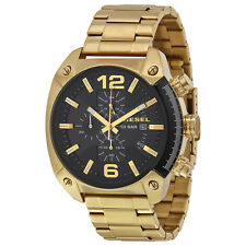 Diesel Overflow Black Dial Gold Stainless Steel Mens Quartz Watch DZ4342