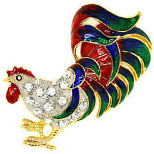 New Rooster Clear Sparkling Rhinestone Crystal Pin Brooch