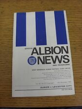 28/10/1967 West Bromwich Albion v Leicester City  (Staples Removed). This item h