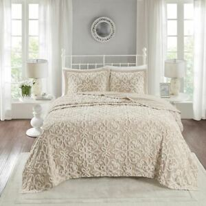 Luxury 3pc Taupe Soft Cotton Chenille Bedspread AND Decorative Shams