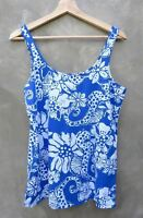 New Lilly Pulitzer Tabbie Tank Chowdah Seaa Blue Sleeveless Top shirt L Large