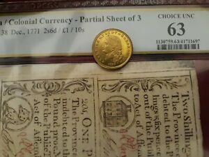 Colonial North Carolina uncut sheet Dec. 1771 - PCGS Choice CU 63!