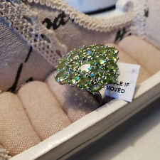 Stunning AA 11ct Peridot Cluster Ring in platinum over Sterling Silver 'S'