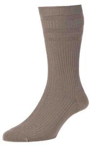 1 Pair Original HJ Halls Soft Top HJ91 Taupe Cotton Rich Socks, UK Size 6-11