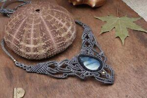Flashy Labradorite Macrame Necklace Jewellery Cabochon Healing Handmade Stone