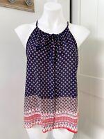 Stitchfix Q & A Navy Blue Camilo Halter Top Women's Size Medium Tie Neck NWT