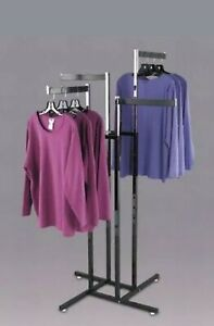 Commercial Metal 4 Way Chrome Retail Hanging Clothes Rack Display Heavy Duty