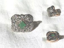 Anello Antico in Oro, Argento, Smeraldo e Diamanti Rose Coroné