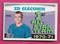 1971-72 OPC # 250 RANGERS ED GIACOMIN  AS VG+ CARD  (INV# C1713)