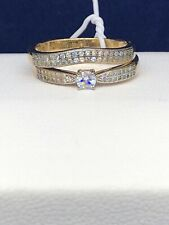 Wedding Band Ring Set Size 8 Yellow Gold over Sterling Silver Engagement and