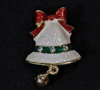 "Gold Tone White Glitter Christmas Bell Red Green Enamel Pin Brooch 1.75"""
