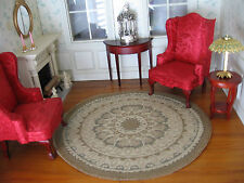 dollhouse doll house miniature FANCY ACCENT RUG CARPET ROUND #3