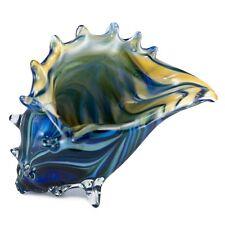"New Large Hand Blown Glass Blue Striped Seashell Figurine 7.5"" Long 5.5"" High"
