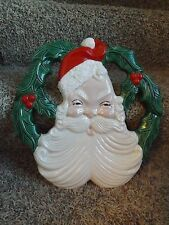 "Vintage Cramer Ceramic Mold Christmas Holly Santa Face Wreath 14"" EUC"