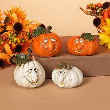 "2274840 2.75"" Pumpkin Patch Face S/4 Halloween Table Decoration White Orange"
