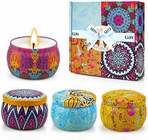 4PK Scented Candles Tins Spring Fig Lemon Lavender Mothers Day Gift Home Decor