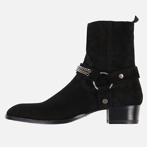 Saint Laurent Paris Black Suede Chain Wyatt Boots   Sz EU 44, UK 10, US 11