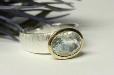 SCHMUCK-STCK Ring Silber Aquamarin vergoldet Facetten 18 58