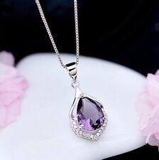 Crystal Amethyst Pendant Chain Necklace 925 Sterling Silver Women's Jewellery Uk